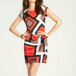 Ann Taylor Geometric Cape Sleeve Wrap Dress M